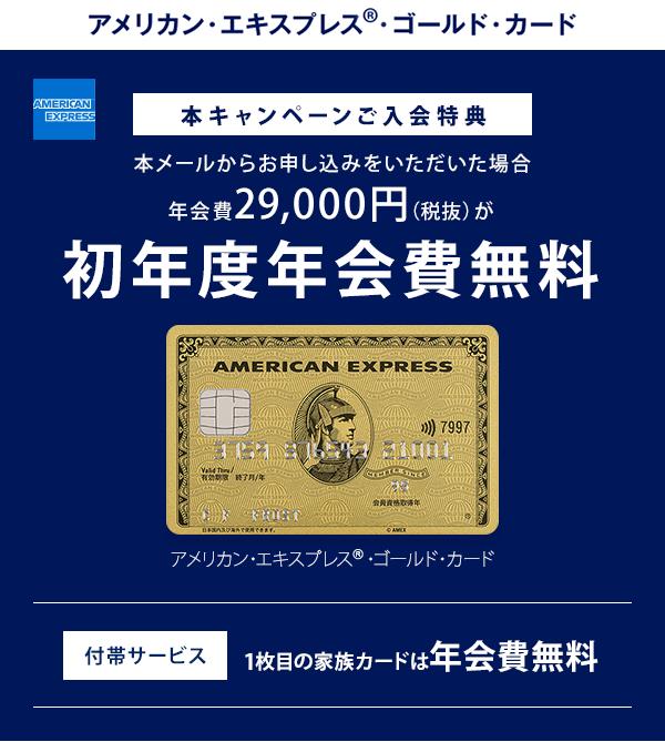 アメリカン・エキスプレス®・ゴールド・カード 日常も旅も、夢中になる瞬間を。 ご入会特典 初年度年会費無料 しかもゴールド・カードなら 1枚目の家族カードは年会費無料