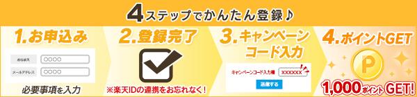 かんたん登録!1.お申込2.登録完了3.キャンペーンコード入力4.ポイントゲット!